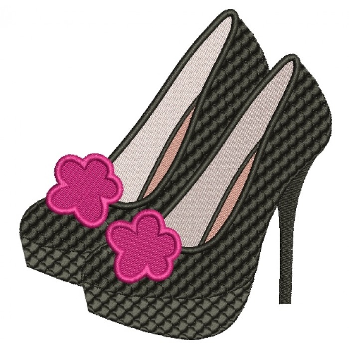 High Heel Stiletto Shoes Filled Machine Embroidery Digitized Design Pattern