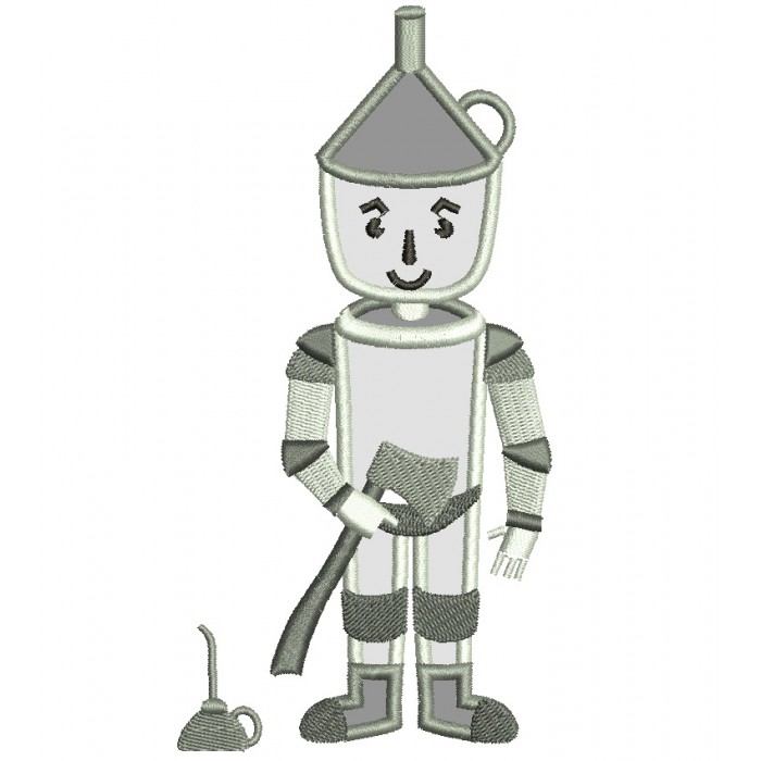 Looks Like Tin Man from Wizard of OZ Applique Machine Embroidery Digitized Design Pattern