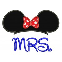MRS Minnie Mouse Applique Machine Embroidery Digitized Design Pattern