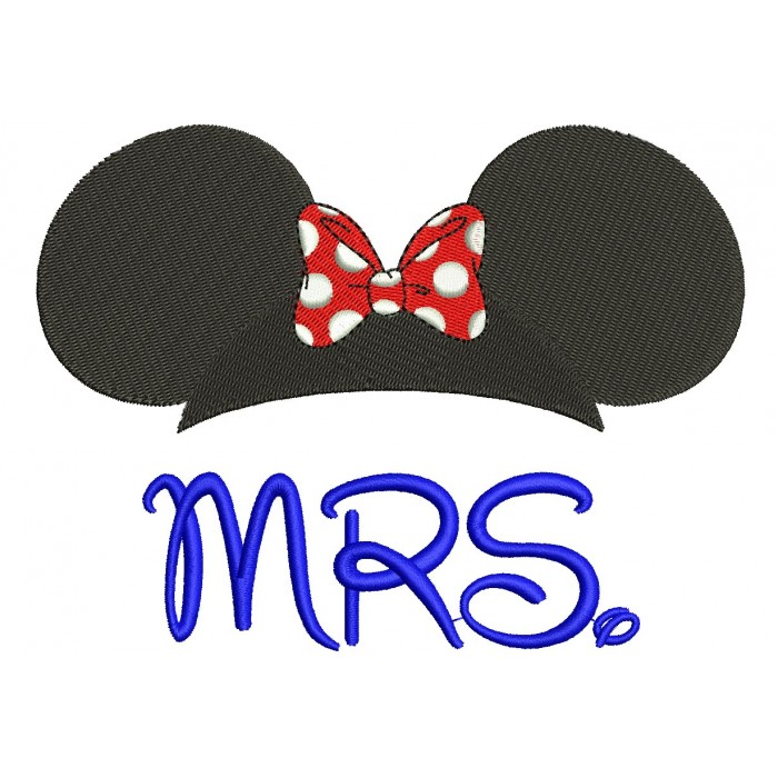 MRS Minnie Mouse Filled Machine Embroidery Digitized Design Pattern