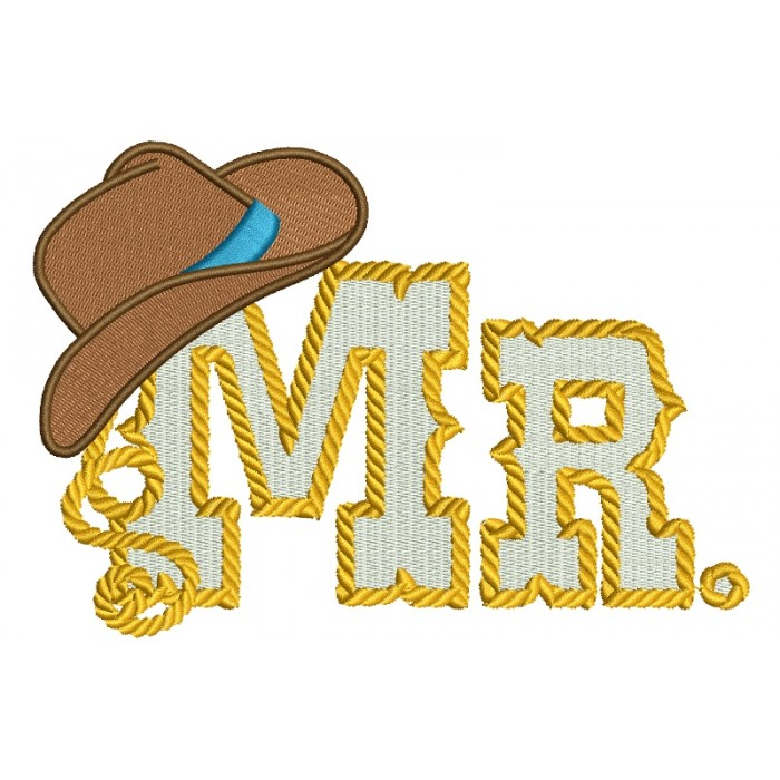 Mr Country Cowboy Style Rope Hat Filled Machine Embroidery Digitized Design Pattern