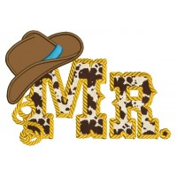 Mr Country Style Rope Hat Applique Machine Embroidery Digitized Design Pattern