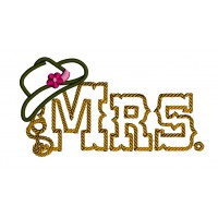 Mrs Country Cowgirl Style Rope Hat Applique Machine Embroidery Digitized Design Pattern