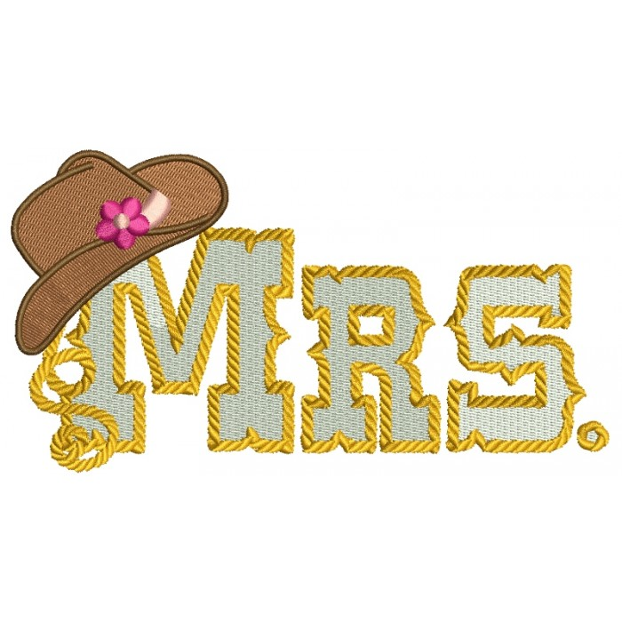 Mrs Country Cowgirl Style Rope Hat Filled Machine Embroidery Digitized Design Pattern