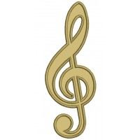 Music Clef Applique Machine Embroidery Digitized Design Pattern
