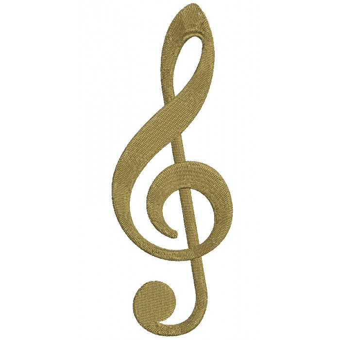 Music Clef Filled Machine Embroidery Digitized Design Pattern