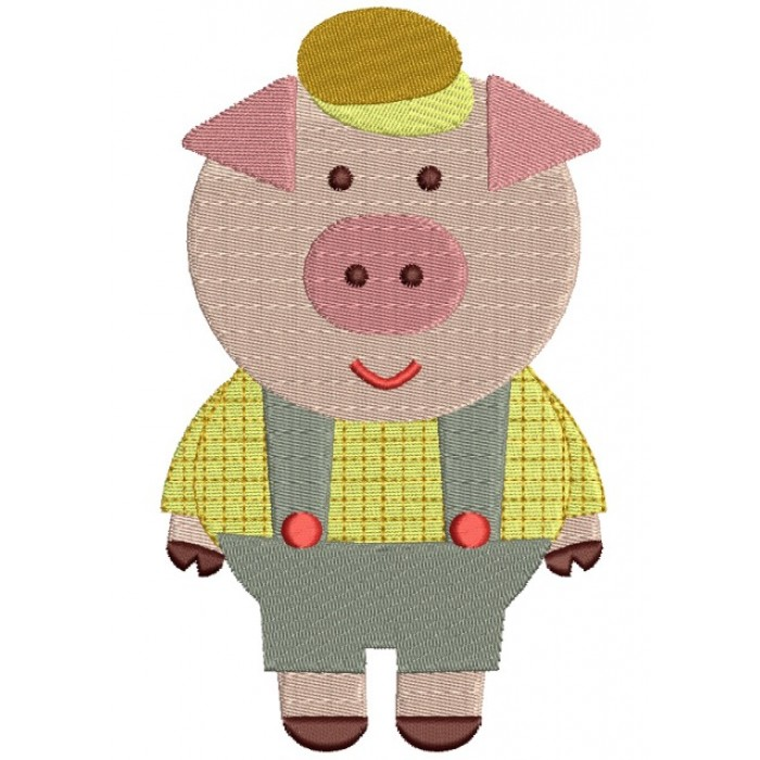 One Little Pig Filled Machine Embroidery Digitized Design Pattern