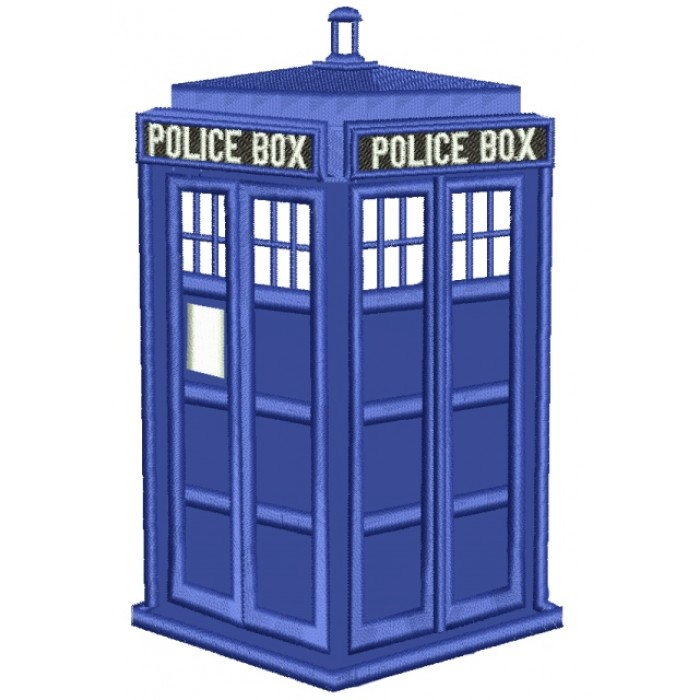 Police Box Applique Machine Embroidery Digitized Design Pattern