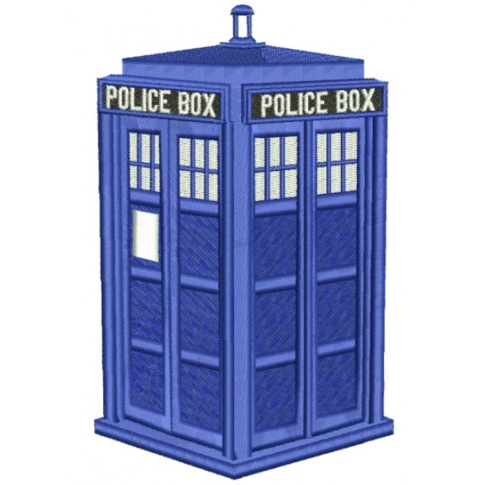 Police Box Filled Machine Embroidery Digitized Design Pattern