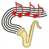 Saxophone Music Applique Machine Embroidery Digitized Design Pattern