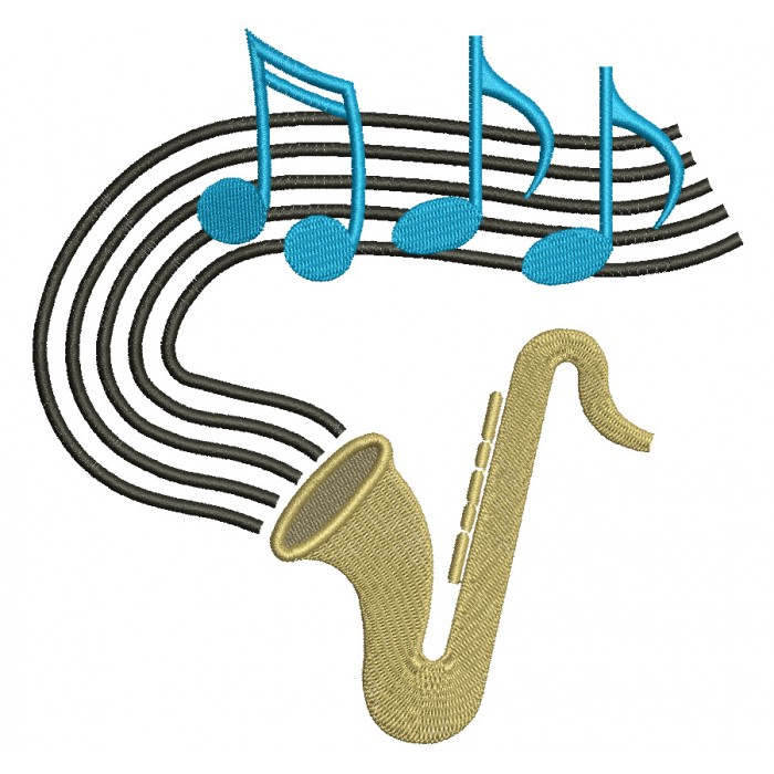 Saxophone Music Filled Machine Embroidery Digitized Design Pattern