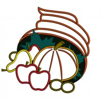 Thanksgiving cornucopia basket applique Machine Embroidery Digitized Design Pattern