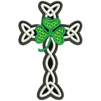 The Cross and Shamrock Applique Machine Embroidery Digitized Design Pattern