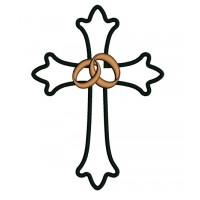 Wedding Cross With Two Bands Applique Machine Embroidery Digitized Design Pattern