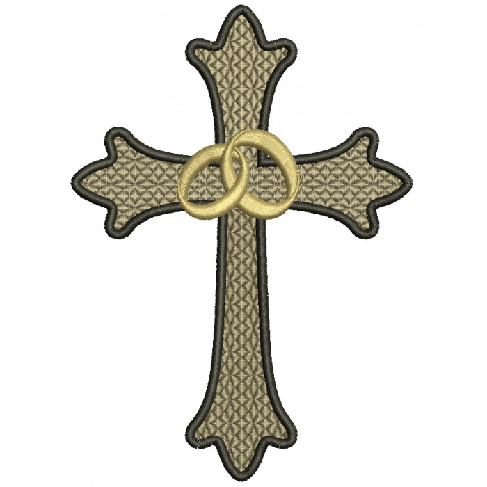 Wedding Cross With Two Bands Filled Machine Embroidery Digitized Design Pattern