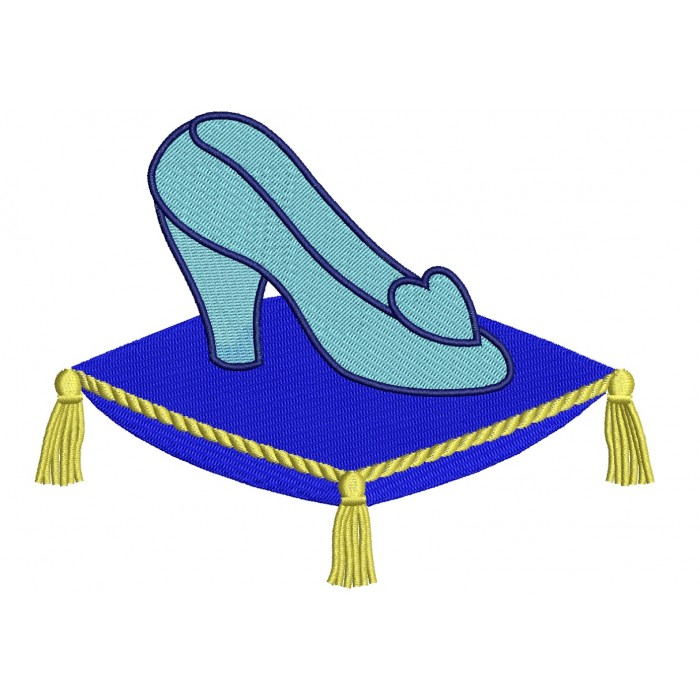Cinderella Glass Shoe Filled Machine Embroidery Digitized Design Pattern