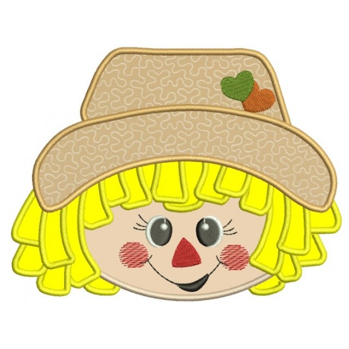 Cute Boy Scarecrow Head With Hearts Applique Machine Embroidery Digitized Design Pattern