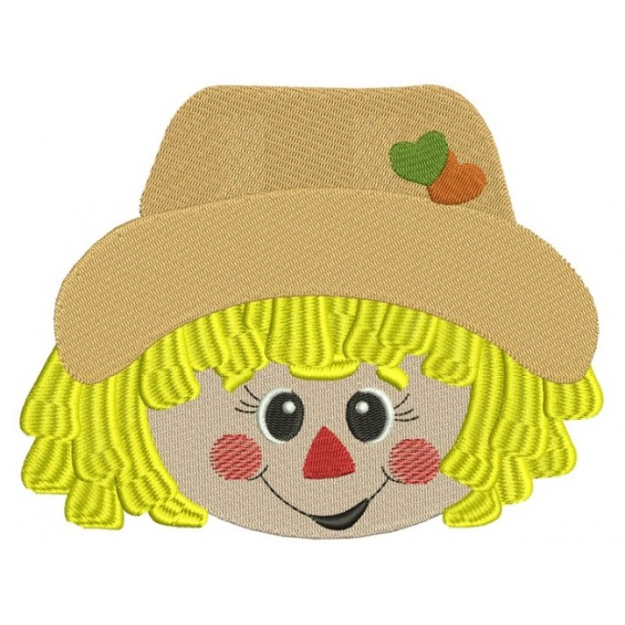 Cute Boy Scarecrow Head With Hearts Filled Machine Embroidery Digitized Design Pattern