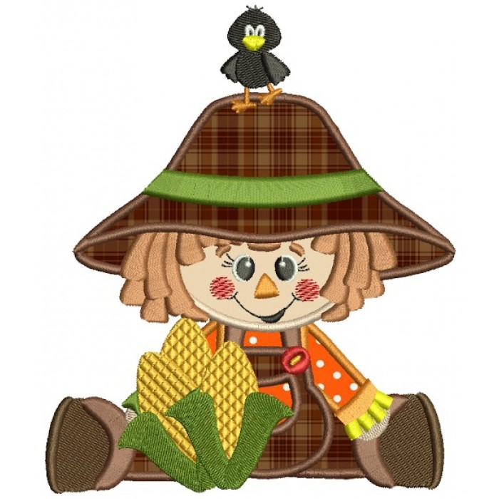 Cute Scarecrow Boy Fall Applique Machine Embroidery Digitized Design Pattern