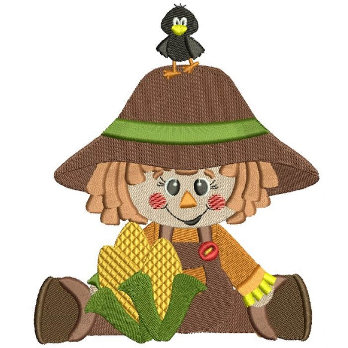 Cute Scarecrow Boy Fall Filled Machine Embroidery Digitized Design Pattern