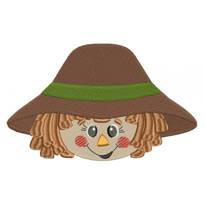 Cute Scarecrow Boy Head Filled Machine Embroidery Digitized Design Pattern