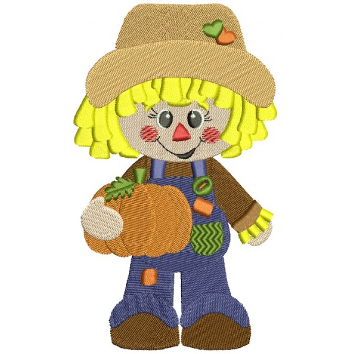 Cute Scarecrow Boy with a pumpkin Filled Machine Embroidery Digitized Design Pattern