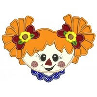 Cute Scarecrow Girl Head Applique Machine Embroidery Digitized Design Pattern