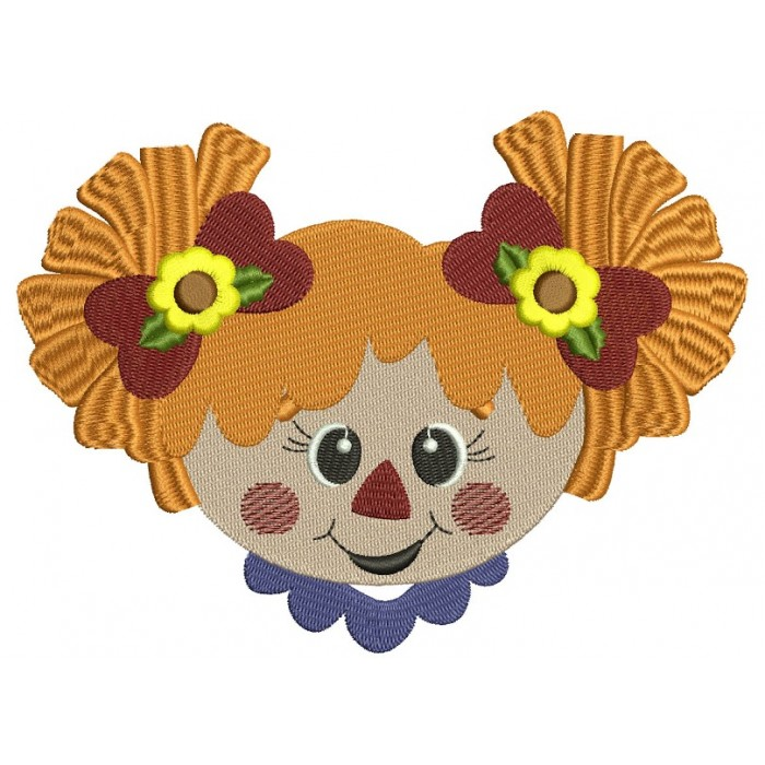 Cute Scarecrow Girl Head Filled Machine Embroidery Digitized Design Pattern