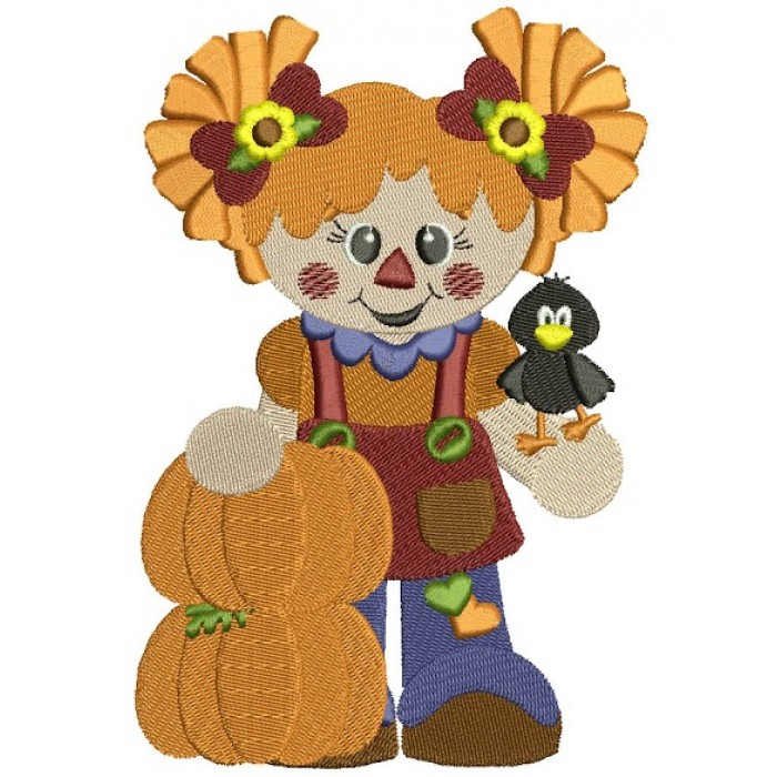 Cute Scarecrow Girl with two pumpkins Filled Machine Embroidery Digitized Design Pattern