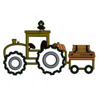 Harvest Fall Hayride Tractor Applique Machine Embroidery Digitized Design Pattern