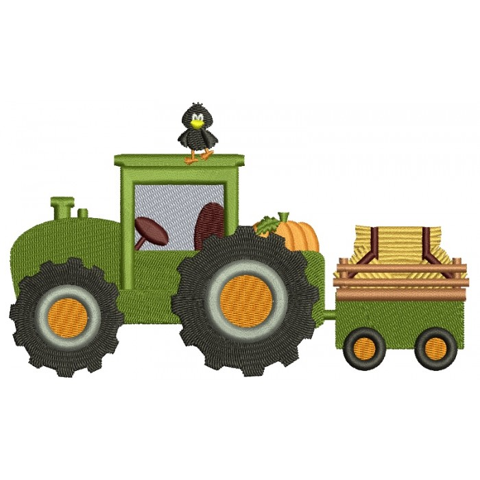 Harvest Fall Hayride Tractor Filled Machine Embroidery Digitized Design Pattern