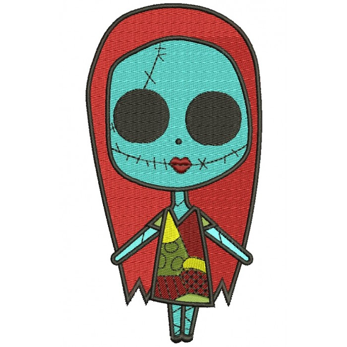 Looks Like Sally Skellington from night before christmas Filled Machine Embroidery Digitized Design Pattern