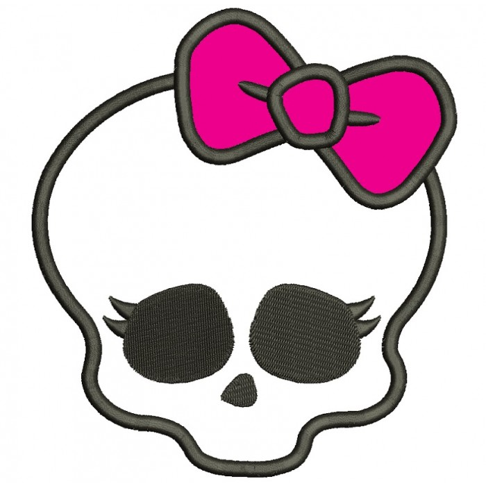 Looks Like Skull from Monster High Applique Machine Embroidery Digitized Design Pattern