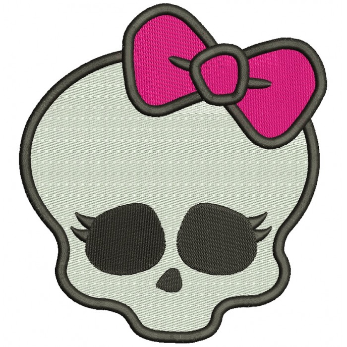 Looks Like Skull from Monster High Filled Machine Embroidery Digitized Design Pattern