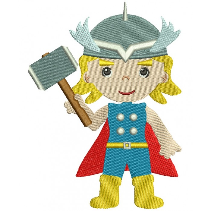 Looks Like Thor Filled Superhero Machine Embroidery Digitized Design Pattern