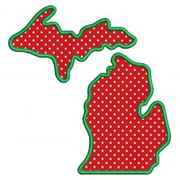 Michigan Applique Machine Embroidery Digitized State Design Pattern