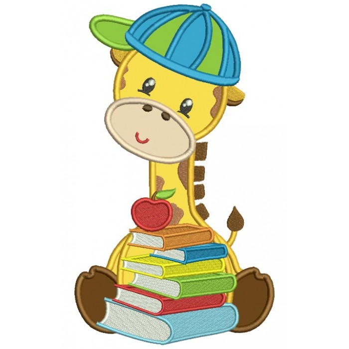 Student Giraffe Holding Books Applique Machine Embroidery Design Digitized Pattern