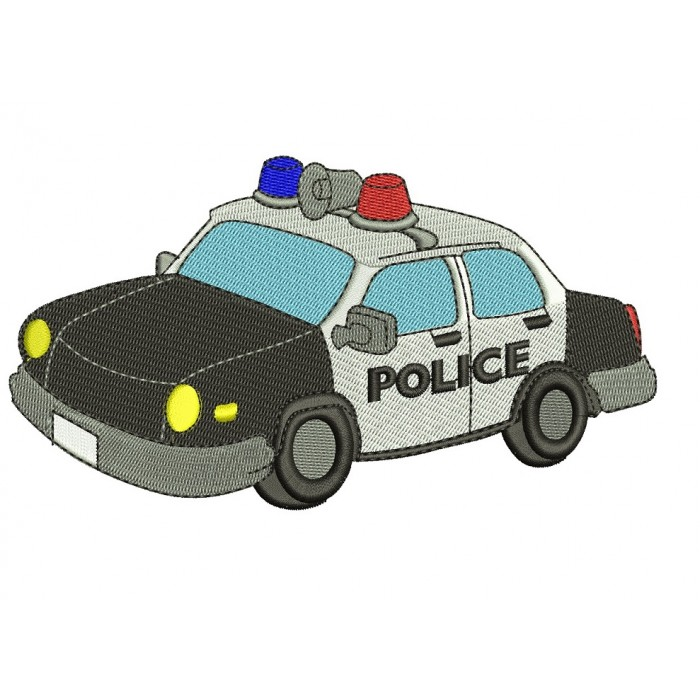 Police Cop Car Filled Machine Embroidery Digitized Design Pattern