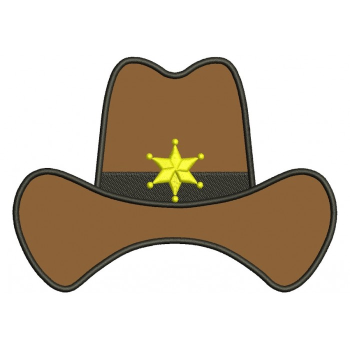 Sheriff Hat Applique Machine Embroidery Digitized Design Pattern