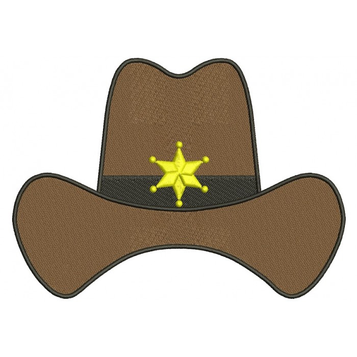 Sheriff Hat Machine Embroidery Filled Digitized Design Pattern