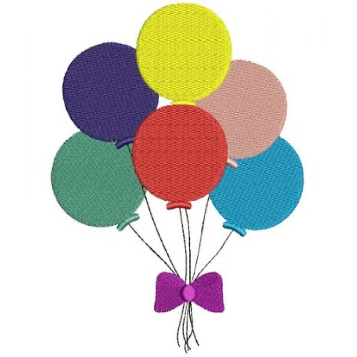 Balloons with bow Filled Machine Embroidery Design Digitized Pattern