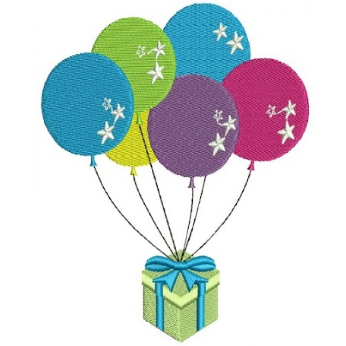 Birthday balloons Filled Machine Embroidery Design Digitized Pattern