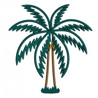 Palm Tree Applique Tropical Machine Embroidery Design Digitized Pattern