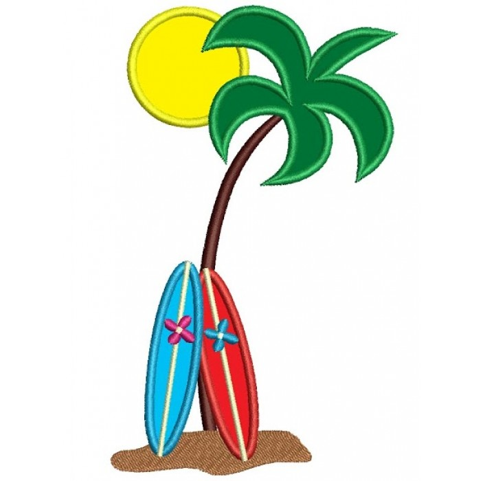 Palm Trees Applique Surf Boards Machine Embroidery Design Digitized Pattern