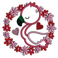 Flamingo In a Round Flower Frame Applique Machine Embroidery Design Digitized Pattern