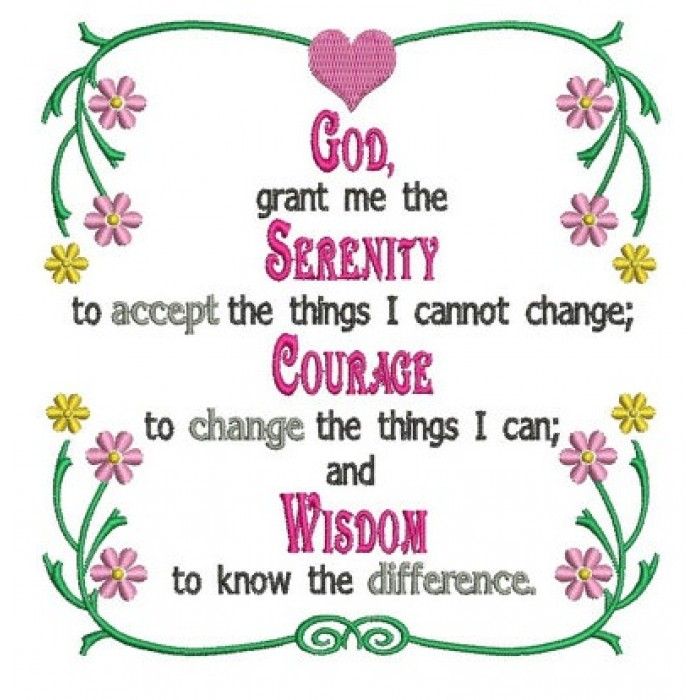 God Grant Me Serenity Prayer Machine Embroidery Digitized Pattern Instant Download 5x7 6x10 Hoops 700x700g