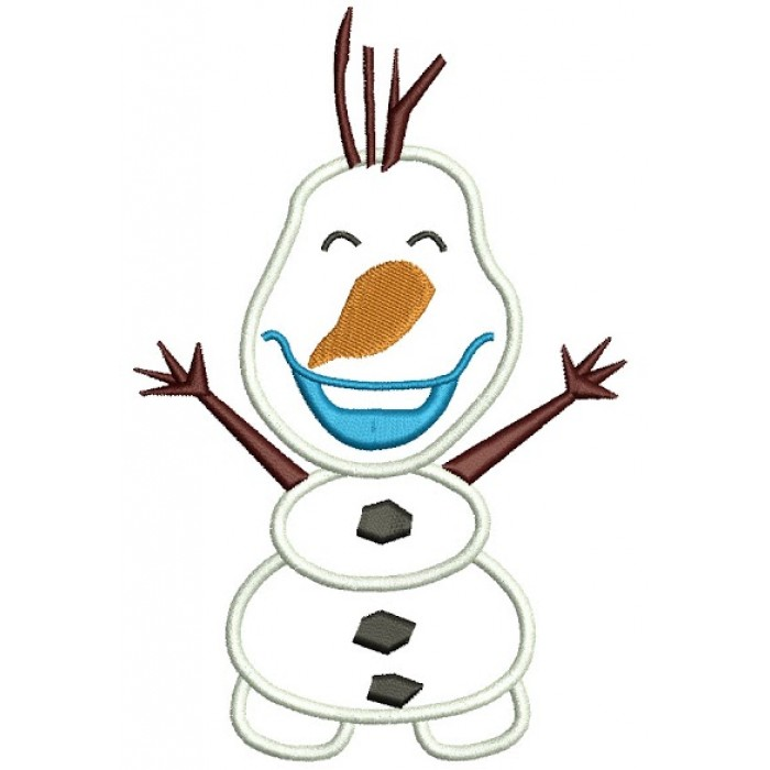 Looks Like Olaf Snow Man from Frozen Applique Machine Embroidery Design Digitized Pattern