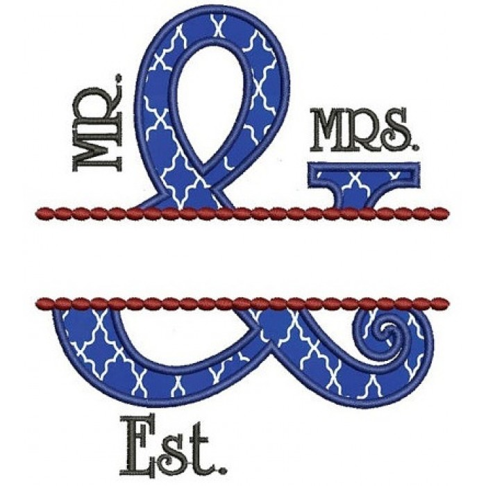 Mr & Mrs Applique Fancy Border Embroidery Digitized Design Design Pattern - Instant Download - 4x4 , 5x7, and 6x10 -hoops