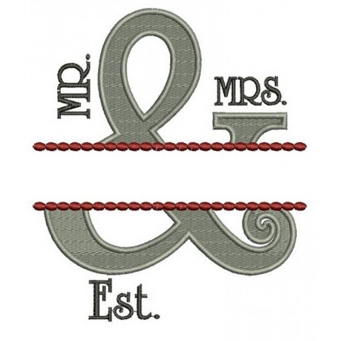 Mr & Mrs Fancy Border Filled Embroidery Digitized Design Design Pattern - Instant Download - 4x4 , 5x7, and 6x10 -hoops