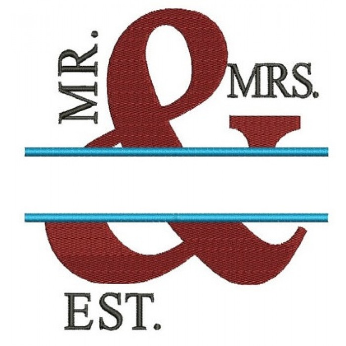 Mr & Mrs Filled Embroidery Digitized Design Design Pattern - Instant Download - 4x4 , 5x7, and 6x10 -hoops